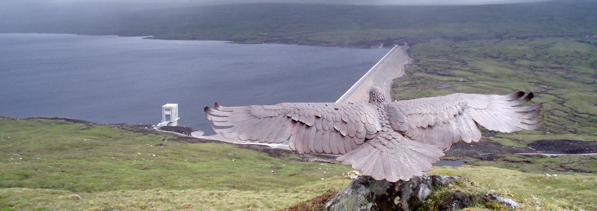 Bronze eagle mounted on Glendoe, in the Highlands of Scotland