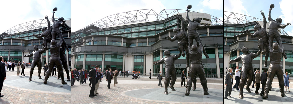 The Rugby Players - installed outside Twickenham Rugby Stadium