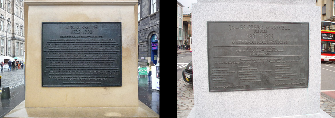 Memorials to Adam Smith, on the Royal Mile, Edinburgh and James Clerk Maxwell in George Street, Edinburgh