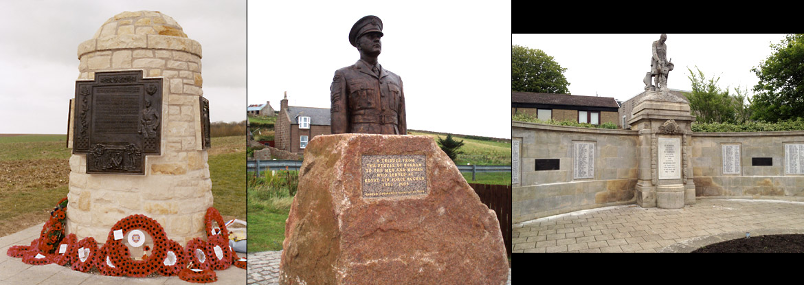 McRae's Battallion memorial at Contalmaison, France - RAF memorial at Boddam, near Aberdeen and two new plaques at Forfar, Angus