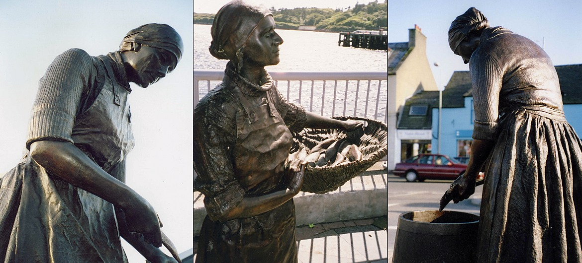 Statue of a traditional fishwife in Shetland